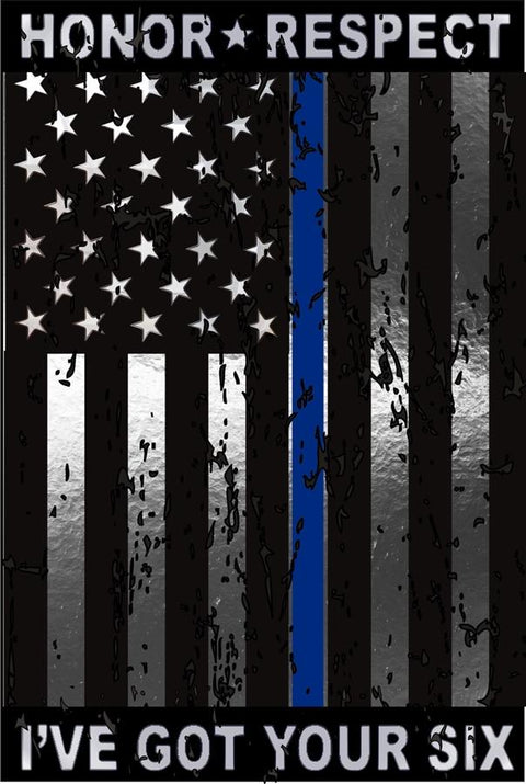 Honor Respect I've Got Your Six Thin Blue Line USA Flag Metallic Reflective  Decal
