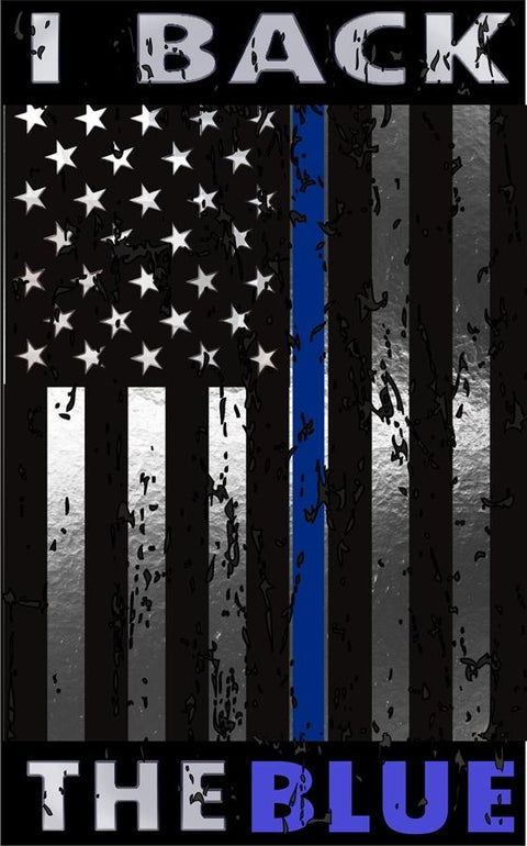 Donation Decal I Back The Blue Thin Blue Line Distressed USA Flag Metallic Reflective  Decal