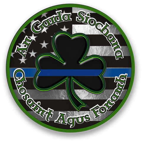 Guardians of the Peace, Protect and Serve Thin Blue Line Shamrock Reflective Decal