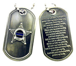 Deputy Sheriff's Prayer Thin Blue Line Brushed Steel Dog Tag