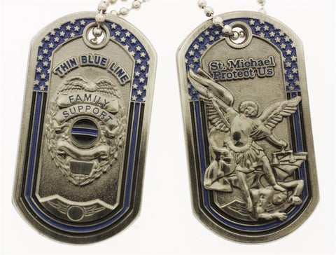 Police Badge Family Support Thin Blue Line St Michael 3D Dog Tag