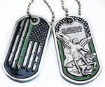Thin Green Line Distress American Flag 3D Saint Michael Protect Us Dog Tag