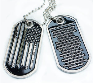 Thin Grey Line Distress American Flag Correction Officer Prayer Dog Tag