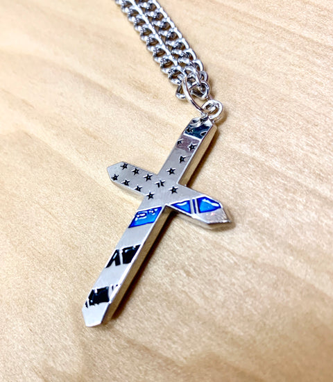 Thin Blue Line Cross and Chain Tapered Edges