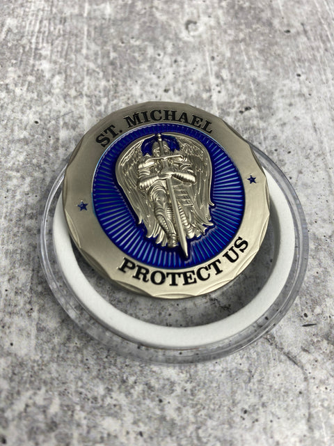 St Michael Protect Us Policeman's Prayer Challenge Coin (Code 3)