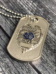 Police Week Sale- Police Wife Thin Blue Line Rose Prayer Dog Tag