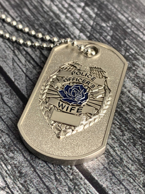Police Wife Thin Blue Line Rose Prayer Dog Tag