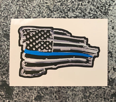 Thin Blue Line USA Wavy Tethered Reflective Flag Decal (Final Sale)