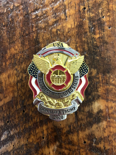 Limited Edition Red Line Trump 2020 White House Firefighter Mini Metal Badge