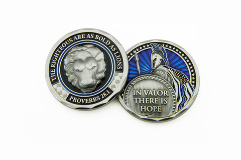 In Valor There Is Hope, The Righteous Are As Bold As Lions Proverbs 28:1  Thin  Blue Line Challenge  Coin