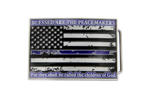 Blessed Are The Peacemakers Thin Blue Line Flag Metal Belt Buckle
