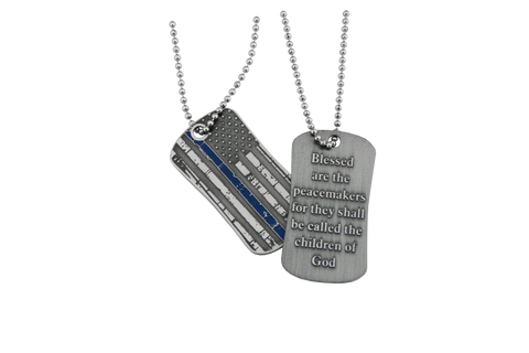 Blessed Are The Peacemakers Thin Blue Line Subdue Flag Stainless Steel Dog Tag