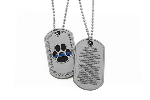 K-9 Paw - K-9 Prayer Brushed Steel Dog Tag