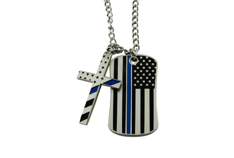 Blessed Are The Peacemakers Thin Blue Line Flag Stainless Steel Dog Tag, TBL Cross And Chain (Code 3)