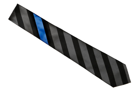 Thin Blue Line Tie : Black-Gray Stripe Thin Blue Line Tie