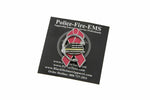 Pink Ribbon Support For the Cure Thin Gold Line Flag Dispatcher and 911 Communications 3D Headset Pin