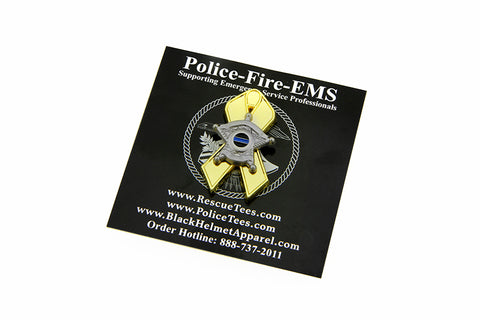 Thin Blue Line Law Enforcement Support Childhood Cancer Gold Ribbon 5 Point Star Lapel Pin