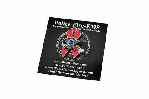 Thin Blue Line Law Enforcement For the Cure Pink Ribbon 5 Point Star Lapel Pin