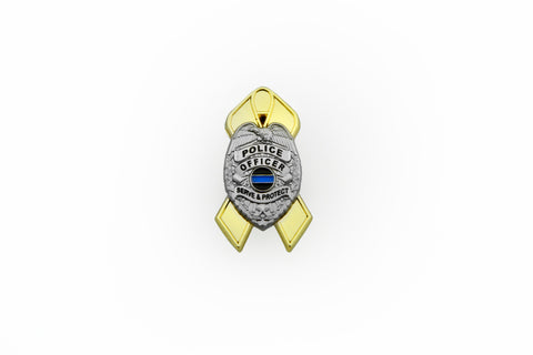 Thin Blue Line Law Enforcement Support Childhood Cancer Gold Ribbon Police Shield Lapel Pin