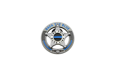 Back The Blue Thin Blue Line 5 Point Star Support Pin