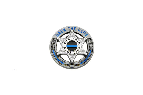 Back The Blue Thin Blue Line 6 Point Star Support Pin