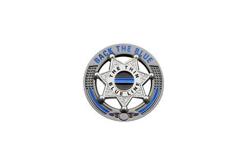 Back The Blue Thin Blue Line 7 Point Star Support Pin