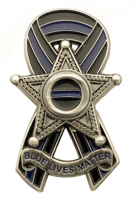 Thin Blue Line Ribbon 5 Point Star Badge Blue Lives Matter™  Pin