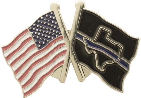 Texas State Thin Blue Line and USA Flag Pin