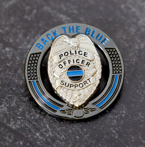 Back The Blue Thin Blue Line Police Support Pin  (Code 3)
