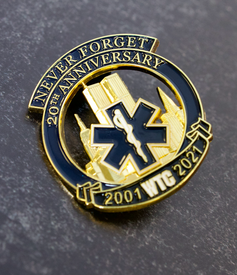 Limited Edition 20th Anniversary EMS Never Forget Twin Towers Star Of Life Pin