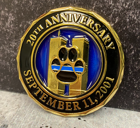 K9 Limited Edition 20th Anniversary World Trade Center 2001-2021 Never Forget Challenge Coin