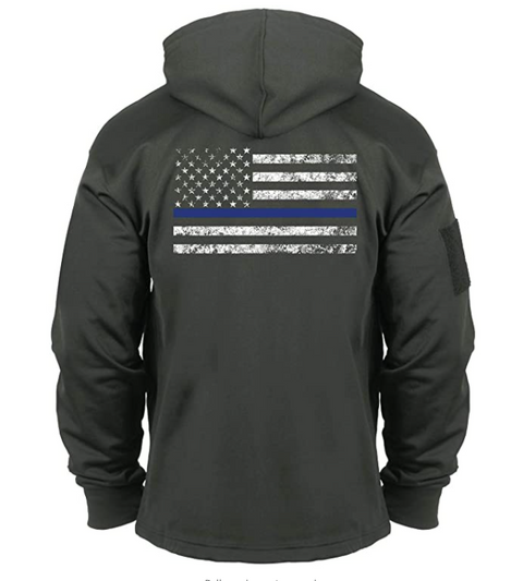 Rothco Thin Blue Line USA Flag Concealed Carry Gun Metal Grey Hoodie ( Moisture Wicking)
