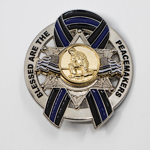 Blessed are the Peacemakers Thin Blue Line Ribbon Memorial Mini Metal 6 Point Star Badge