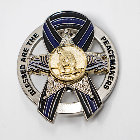 Blessed are the Peacemakers Thin Blue Line Ribbon Memorial Mini Metal 5 Point Star Badge