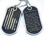 Thin Gold Line Distress Flag Dispatcher Prayer Dog Tag