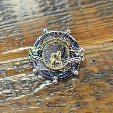Police Week Sale  Limited Edition  National Police Week 2020 7 Point Star Blessed are the Peacemakers Thin Blue Line Memorial Mini Metal Badge