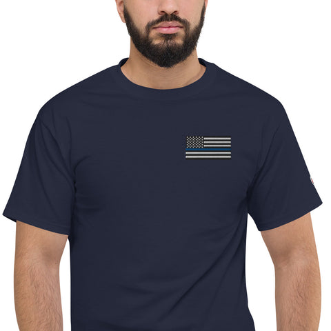 Thin Blue Line USA Flag Men's Champion Tee