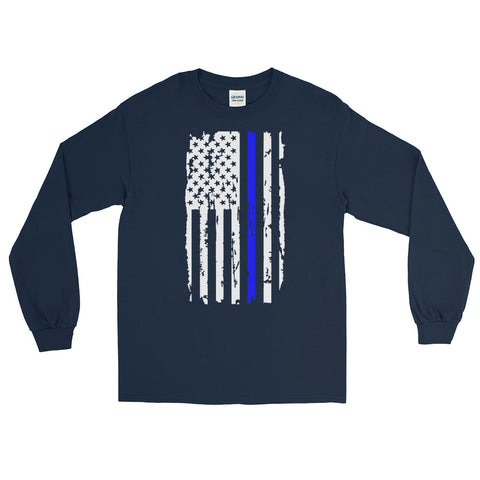 Distressed Blue Line American Flag Long Sleeve Shirt