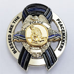 Blessed are the Peacemakers Thin Blue Line Ribbon Memorial Mini Metal PD Badge