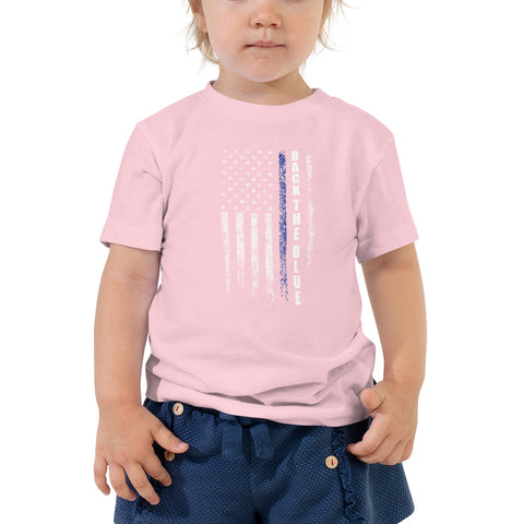 Back The Blue Thin Blue Line USA Distress Flag Bella Canvas Toddler Short Sleeve Tee