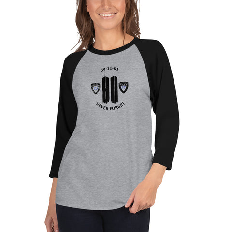 Never Forget 9-11-2001 20th Year Memorial 3/4 Sleeve Raglan Shirt