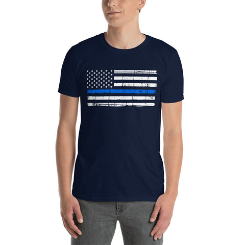Distressed Thin Blue Line American Flag Tee