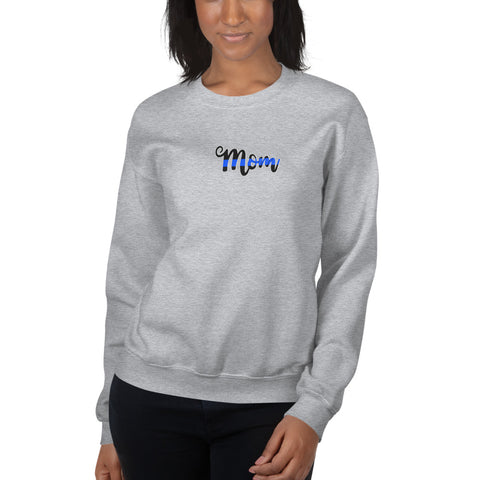 Mother's Day Thin  Blue Line Mom Crew Neck Sweatshirt (Sizes SM to 5XL)