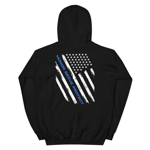 Honor, Serve, & Protect Thin Blue Line Hoodie (Front/Back Print)