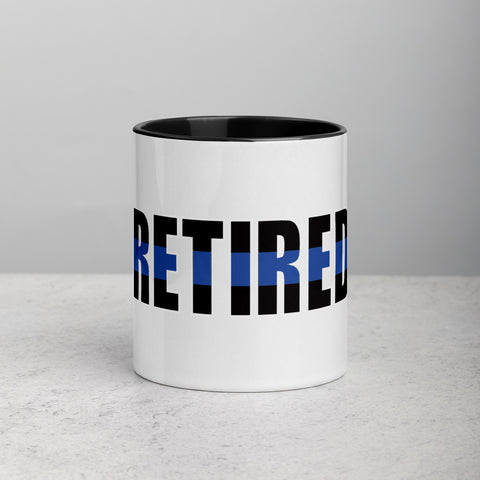 RETIRED Thin Blue Line Certamic Mug with Color Inside and Handle