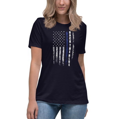 Back  The Blue Thin Blue Line Flag USA Bella Canvas Women's Relaxed T-Shirt