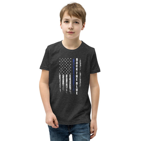 Back  The Blue Thin Blue Line USA Flag Youth Short Sleeve T-Shirt
