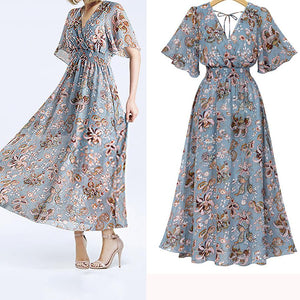 Fashion  V Collar Floral Printed Maxi Dress