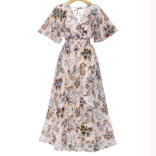 Load image into Gallery viewer, Fashion  V Collar Floral Printed Maxi Dress