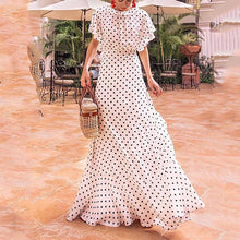 Load image into Gallery viewer, Fashion Round Collar Dot Maxi Dress